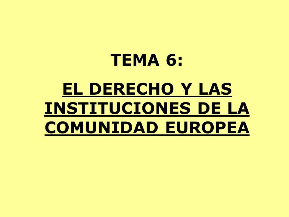 TEMA 6: EL DERECHO Y LAS INSTITUCIONES DE LA COMUNIDAD EUROPEA
