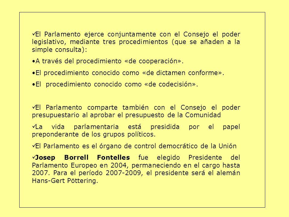 El Parlamento ejerce conjuntamente con el Consejo el poder legislativo, mediante tres procedimientos (que se añaden a la simple consulta): A través de