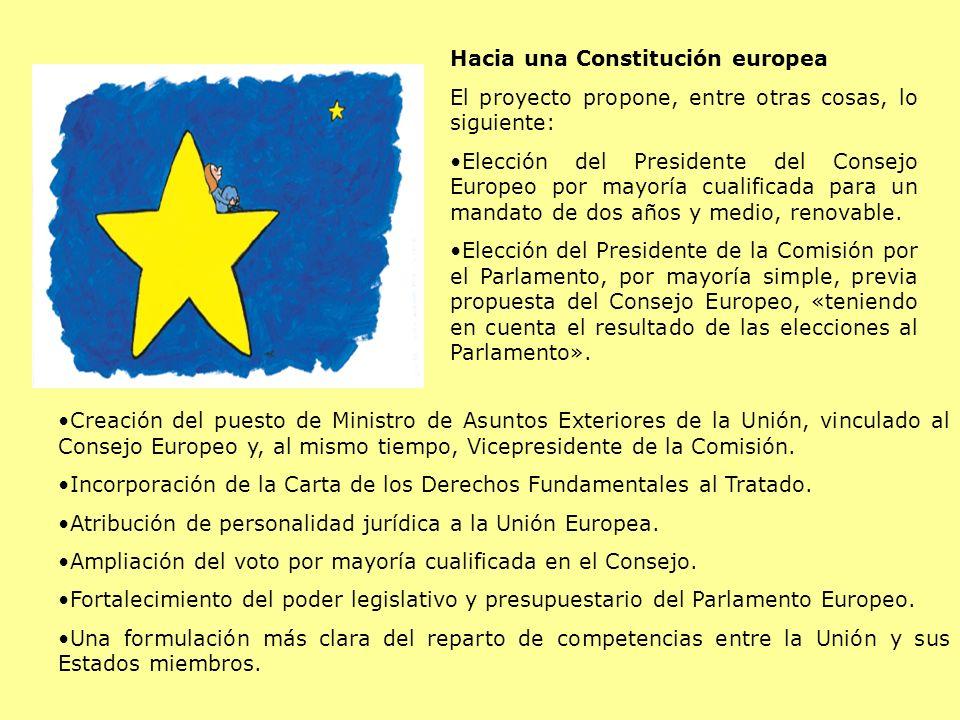 Hacia una Constitución europea El proyecto propone, entre otras cosas, lo siguiente: Elección del Presidente del Consejo Europeo por mayoría cualifica