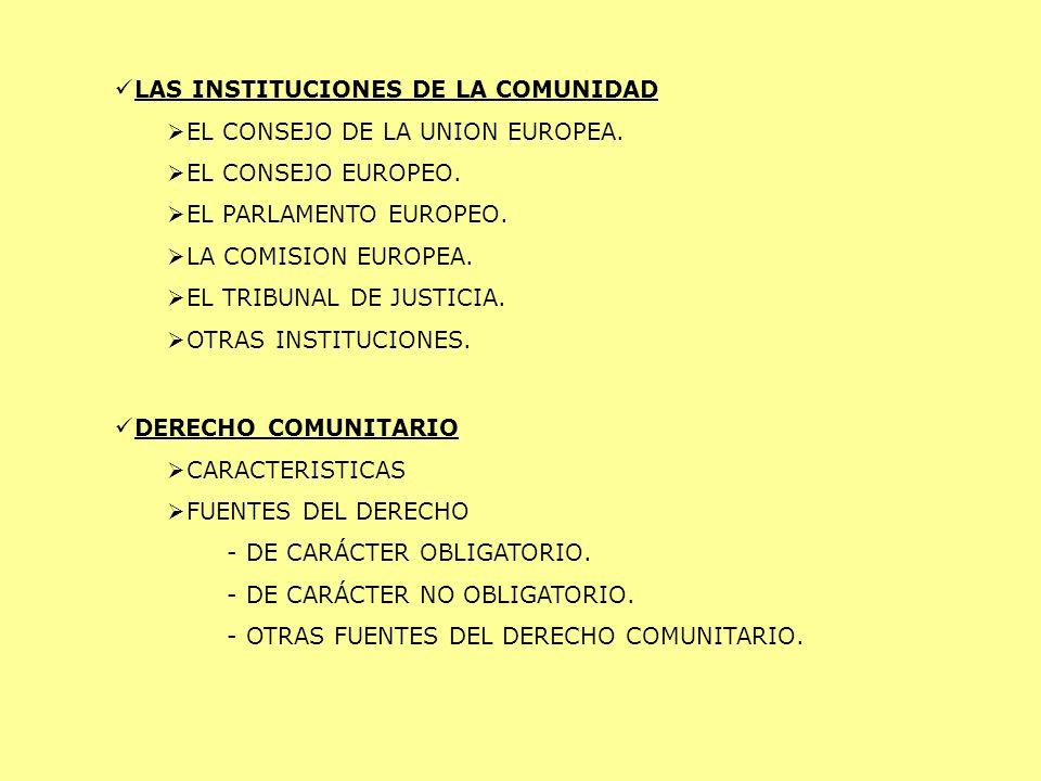 LAS INSTITUCIONES DE LA COMUNIDAD EL CONSEJO DE LA UNION EUROPEA. EL CONSEJO EUROPEO. EL PARLAMENTO EUROPEO. LA COMISION EUROPEA. EL TRIBUNAL DE JUSTI