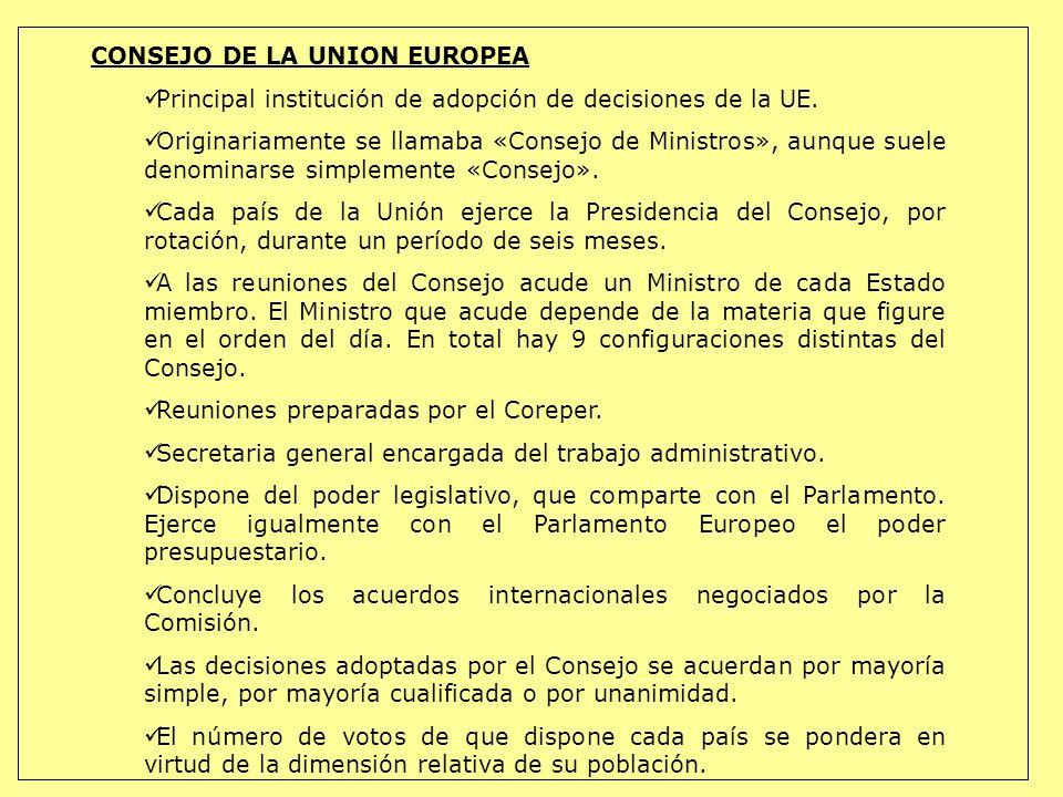 CONSEJO DE LA UNION EUROPEA Principal institución de adopción de decisiones de la UE. Originariamente se llamaba «Consejo de Ministros», aunque suele