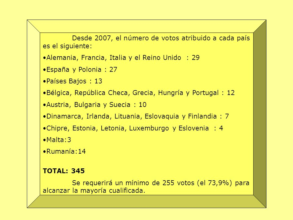 Desde 2007, el número de votos atribuido a cada país es el siguiente: Alemania, Francia, Italia y el Reino Unido : 29 España y Polonia : 27 Países Baj