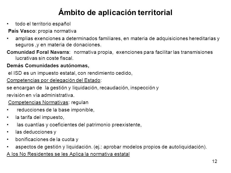12 Ámbito de aplicación territorial todo el territorio español País Vasco: propia normativa amplias exenciones a determinados familiares, en materia d