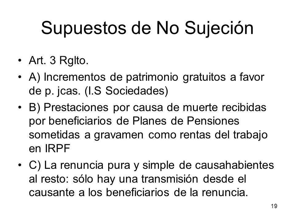 19 Supuestos de No Sujeción Art. 3 Rglto. A) Incrementos de patrimonio gratuitos a favor de p. jcas. (I.S Sociedades) B) Prestaciones por causa de mue