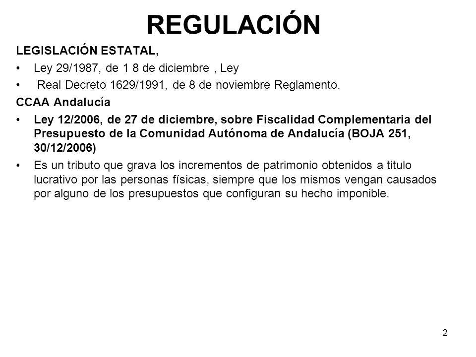 2 REGULACIÓN LEGISLACIÓN ESTATAL, Ley 29/1987, de 1 8 de diciembre, Ley Real Decreto 1629/1991, de 8 de noviembre Reglamento. CCAA Andalucía Ley 12/20