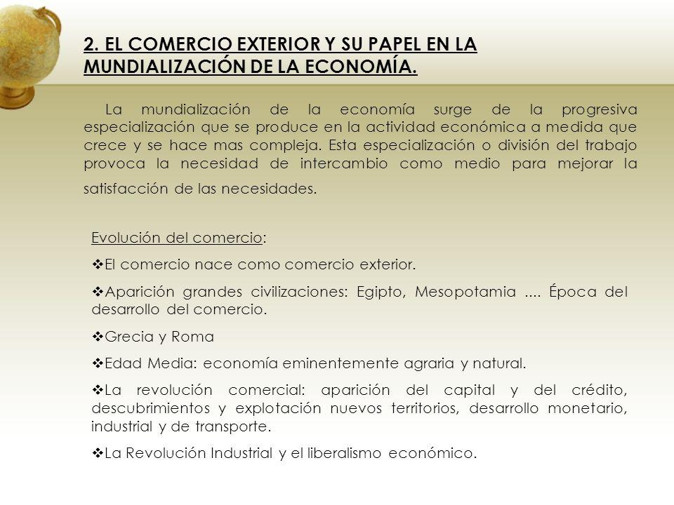 2. EL COMERCIO EXTERIOR Y SU PAPEL EN LA MUNDIALIZACIÓN DE LA ECONOMÍA. La mundialización de la economía surge de la progresiva especialización que se