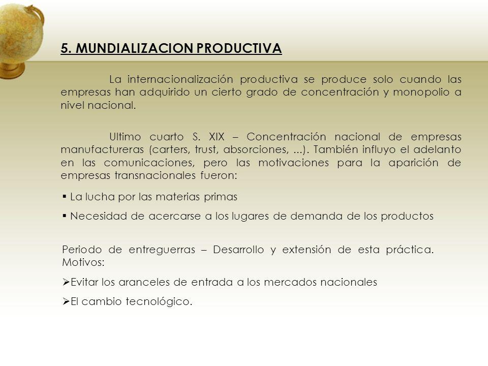 5. MUNDIALIZACION PRODUCTIVA La internacionalización productiva se produce solo cuando las empresas han adquirido un cierto grado de concentración y m