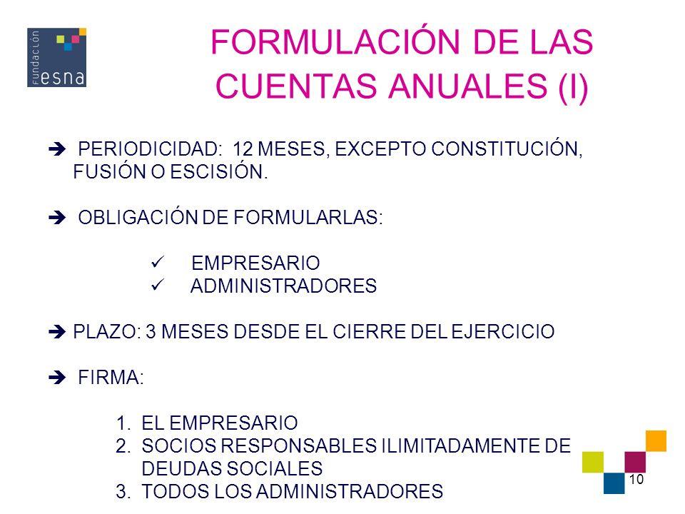 10 FORMULACIÓN DE LAS CUENTAS ANUALES (I) PERIODICIDAD: 12 MESES, EXCEPTO CONSTITUCIÓN, FUSIÓN O ESCISIÓN. OBLIGACIÓN DE FORMULARLAS: EMPRESARIO ADMIN