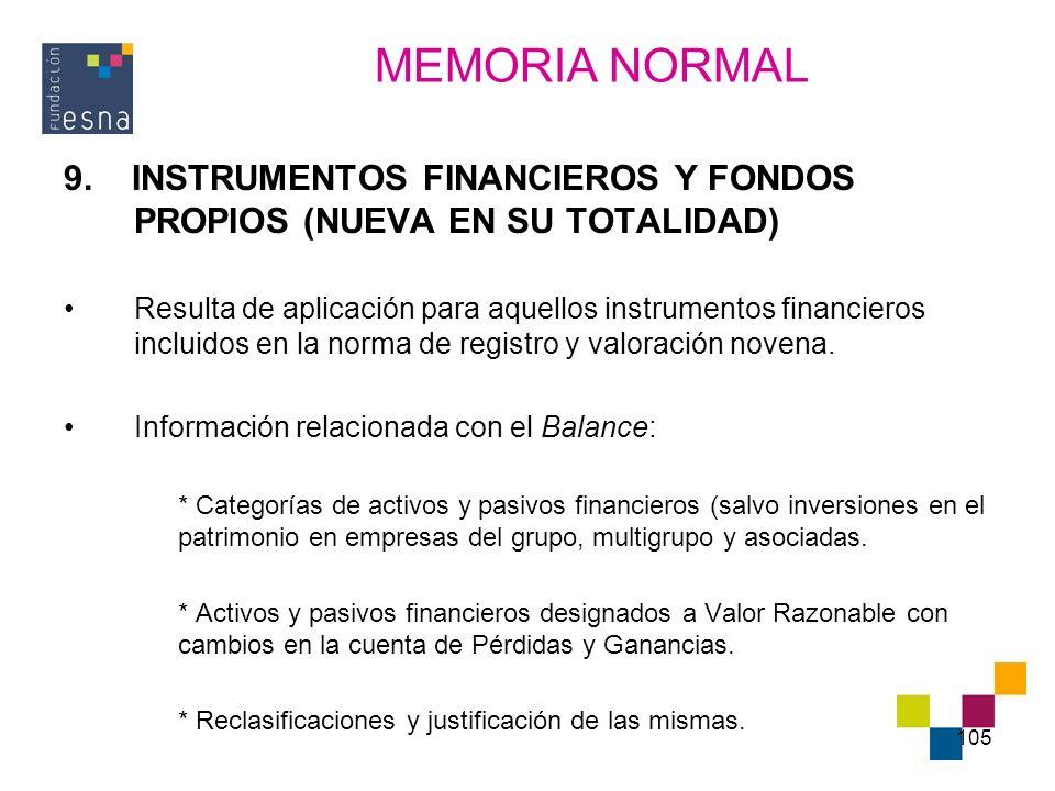 105 9. INSTRUMENTOS FINANCIEROS Y FONDOS PROPIOS (NUEVA EN SU TOTALIDAD) Resulta de aplicación para aquellos instrumentos financieros incluidos en la