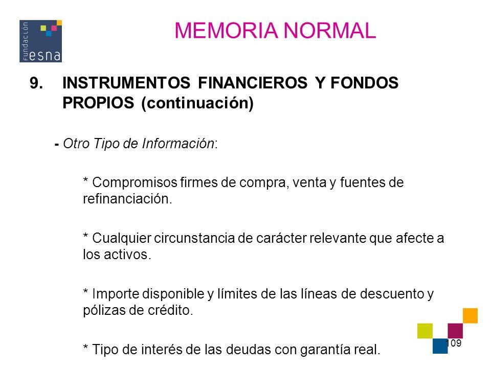 109 9.INSTRUMENTOS FINANCIEROS Y FONDOS PROPIOS (continuación) - Otro Tipo de Información: * Compromisos firmes de compra, venta y fuentes de refinanc
