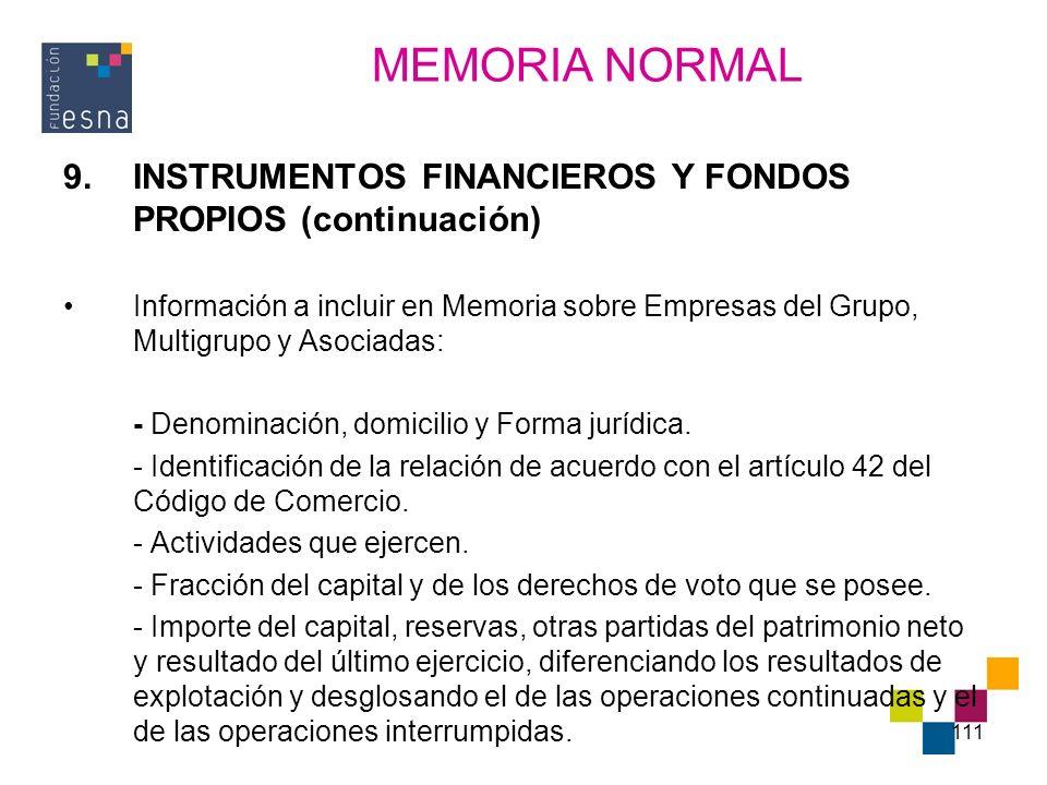 111 9.INSTRUMENTOS FINANCIEROS Y FONDOS PROPIOS (continuación) Información a incluir en Memoria sobre Empresas del Grupo, Multigrupo y Asociadas: - De