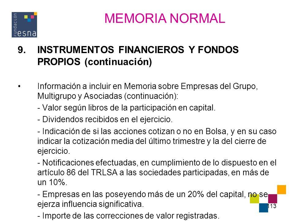 113 9.INSTRUMENTOS FINANCIEROS Y FONDOS PROPIOS (continuación) Información a incluir en Memoria sobre Empresas del Grupo, Multigrupo y Asociadas (cont