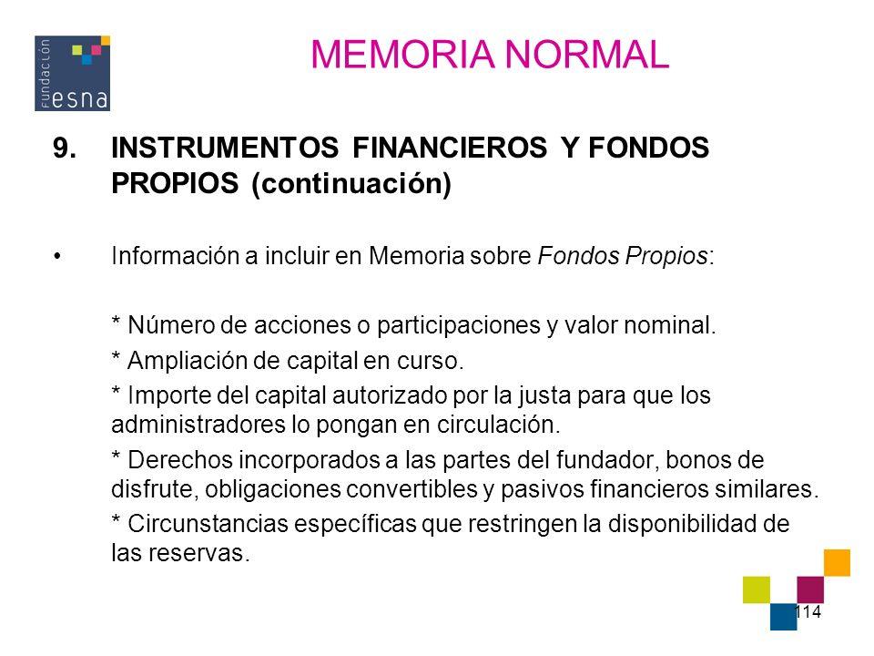 114 9.INSTRUMENTOS FINANCIEROS Y FONDOS PROPIOS (continuación) Información a incluir en Memoria sobre Fondos Propios: * Número de acciones o participa