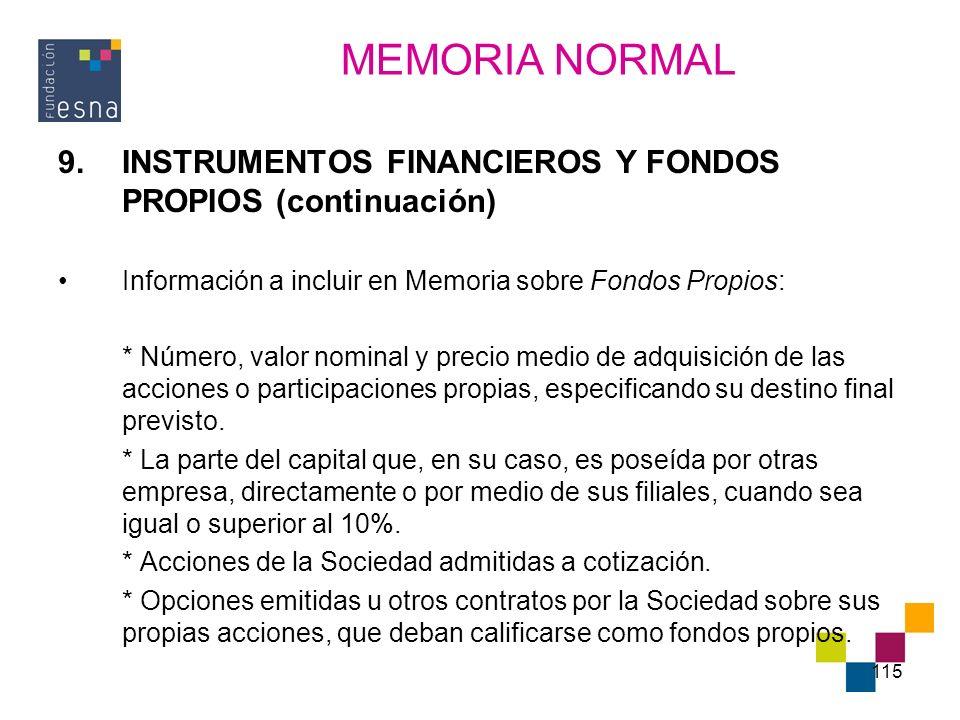 115 9.INSTRUMENTOS FINANCIEROS Y FONDOS PROPIOS (continuación) Información a incluir en Memoria sobre Fondos Propios: * Número, valor nominal y precio