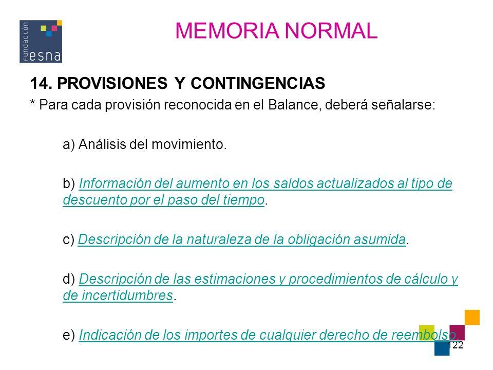 122 14. PROVISIONES Y CONTINGENCIAS * Para cada provisión reconocida en el Balance, deberá señalarse: a) Análisis del movimiento. b) Información del a