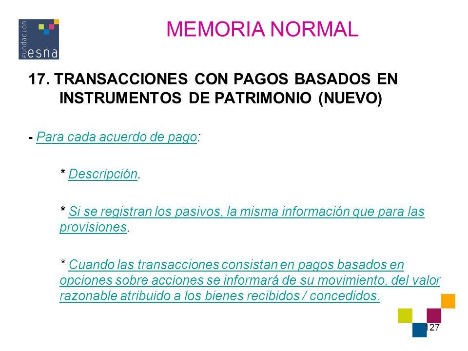 127 17. TRANSACCIONES CON PAGOS BASADOS EN INSTRUMENTOS DE PATRIMONIO (NUEVO) - Para cada acuerdo de pago: * Descripción. * Si se registran los pasivo