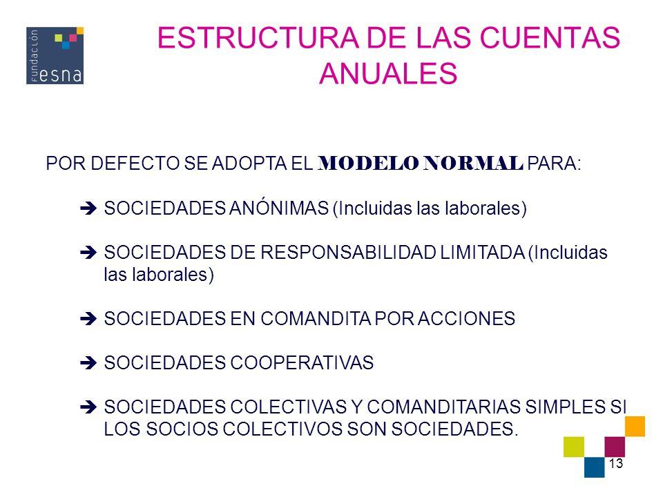 13 ESTRUCTURA DE LAS CUENTAS ANUALES POR DEFECTO SE ADOPTA EL MODELO NORMAL PARA: SOCIEDADES ANÓNIMAS (Incluidas las laborales) SOCIEDADES DE RESPONSA