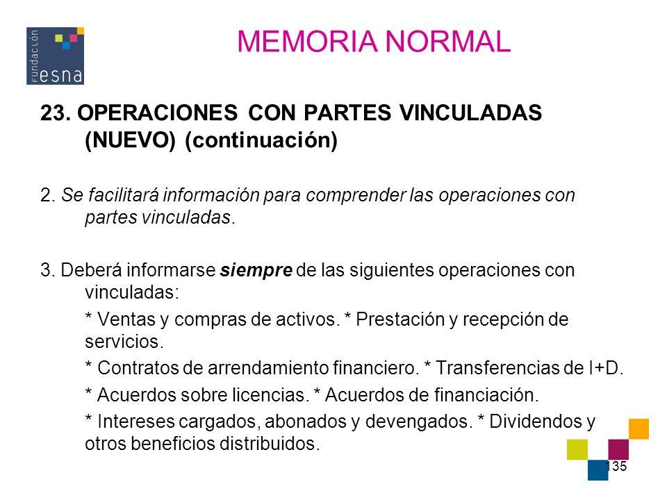 135 23. OPERACIONES CON PARTES VINCULADAS (NUEVO) (continuación) 2. Se facilitará información para comprender las operaciones con partes vinculadas. 3