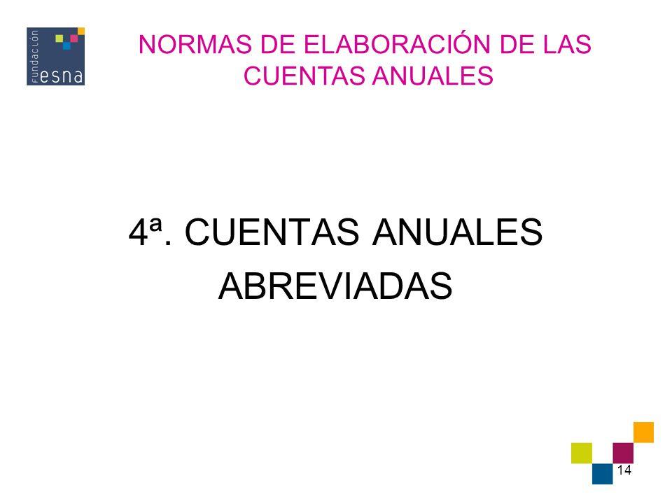 14 4ª. CUENTAS ANUALES ABREVIADAS NORMAS DE ELABORACIÓN DE LAS CUENTAS ANUALES