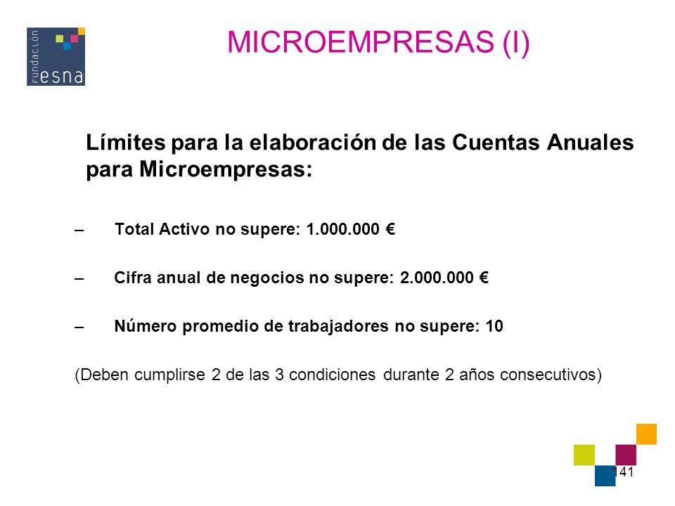 141 Límites para la elaboración de las Cuentas Anuales para Microempresas: –Total Activo no supere: 1.000.000 –Cifra anual de negocios no supere: 2.00