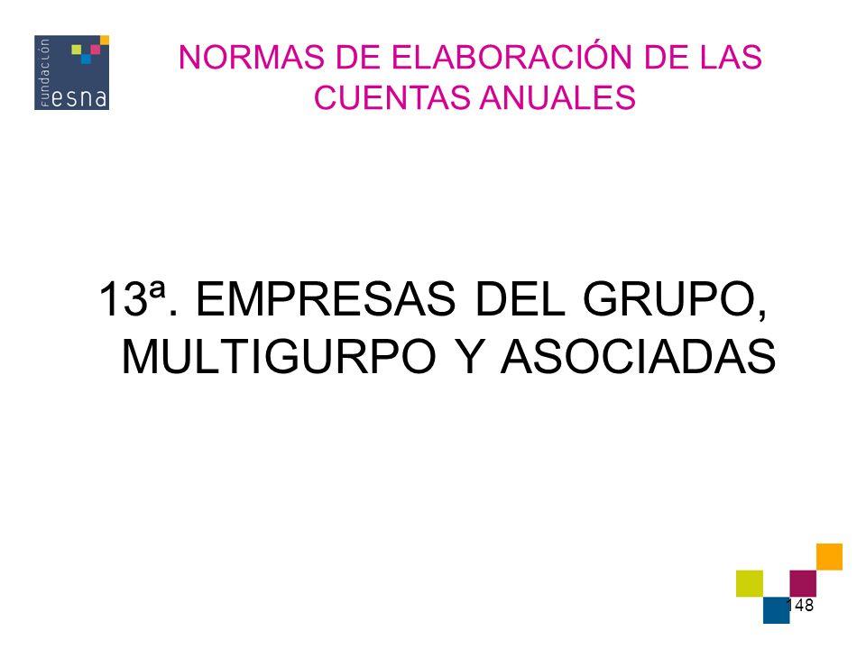 148 13ª. EMPRESAS DEL GRUPO, MULTIGURPO Y ASOCIADAS NORMAS DE ELABORACIÓN DE LAS CUENTAS ANUALES