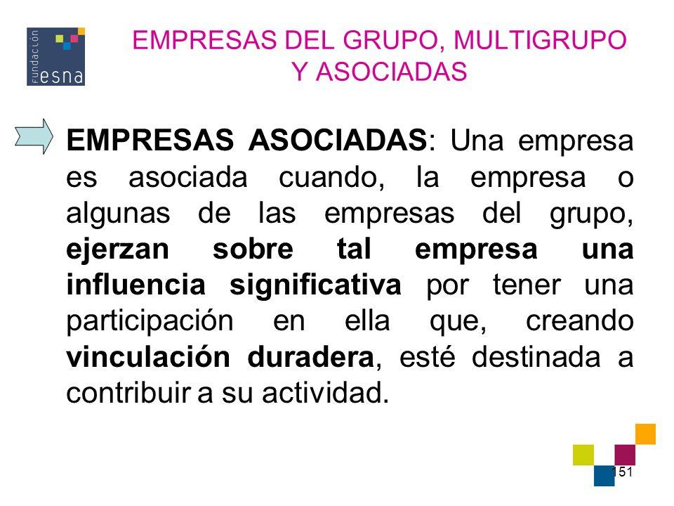 151 EMPRESAS DEL GRUPO, MULTIGRUPO Y ASOCIADAS EMPRESAS ASOCIADAS: Una empresa es asociada cuando, la empresa o algunas de las empresas del grupo, eje