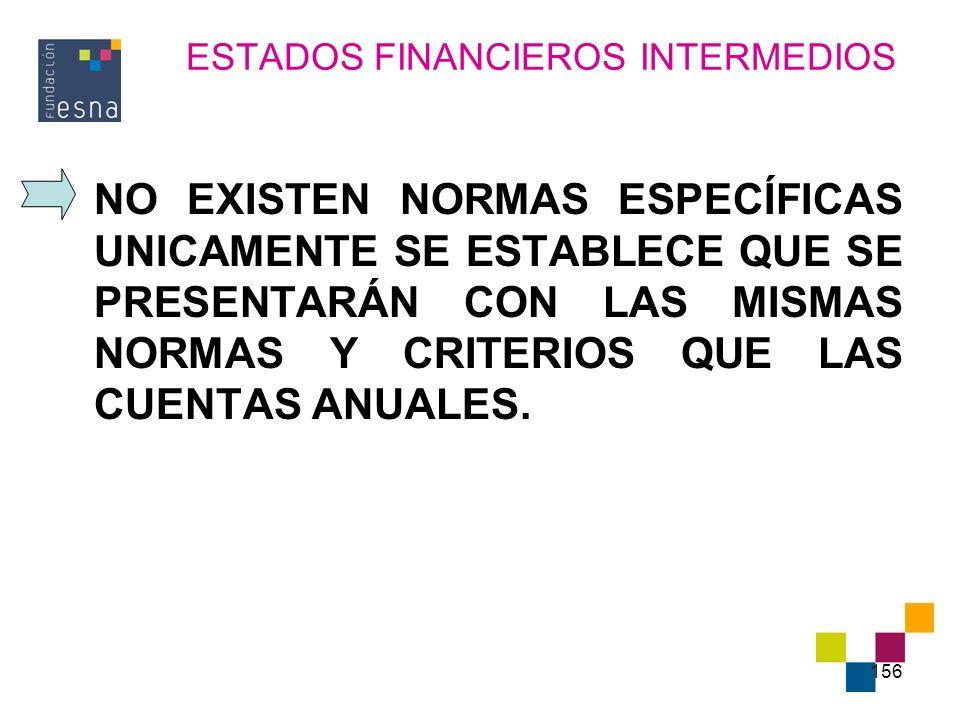 156 ESTADOS FINANCIEROS INTERMEDIOS NO EXISTEN NORMAS ESPECÍFICAS UNICAMENTE SE ESTABLECE QUE SE PRESENTARÁN CON LAS MISMAS NORMAS Y CRITERIOS QUE LAS