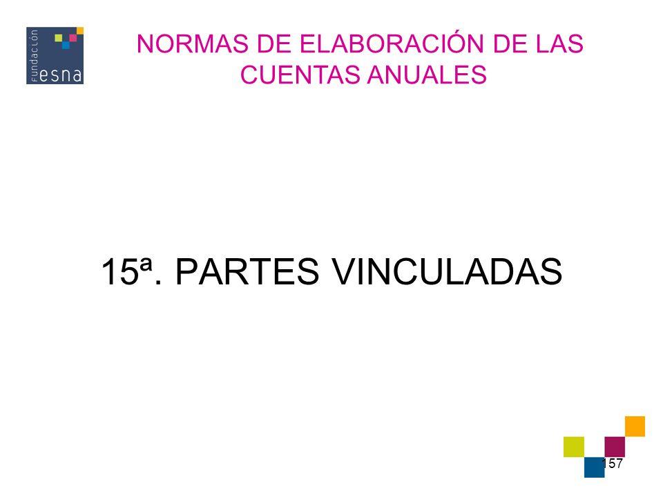 157 15ª. PARTES VINCULADAS NORMAS DE ELABORACIÓN DE LAS CUENTAS ANUALES