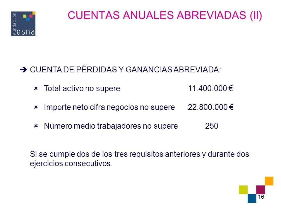 16 CUENTAS ANUALES ABREVIADAS (II) CUENTA DE PÉRDIDAS Y GANANCIAS ABREVIADA: Total activo no supere11.400.000 Importe neto cifra negocios no supere22.