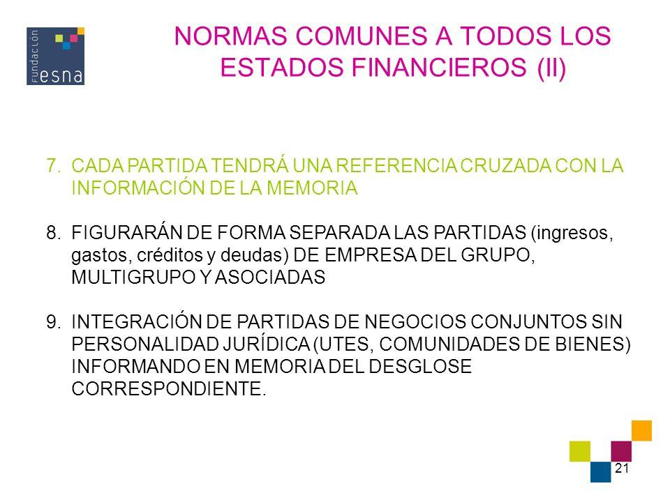 21 NORMAS COMUNES A TODOS LOS ESTADOS FINANCIEROS (II) 7.CADA PARTIDA TENDRÁ UNA REFERENCIA CRUZADA CON LA INFORMACIÓN DE LA MEMORIA 8.FIGURARÁN DE FO