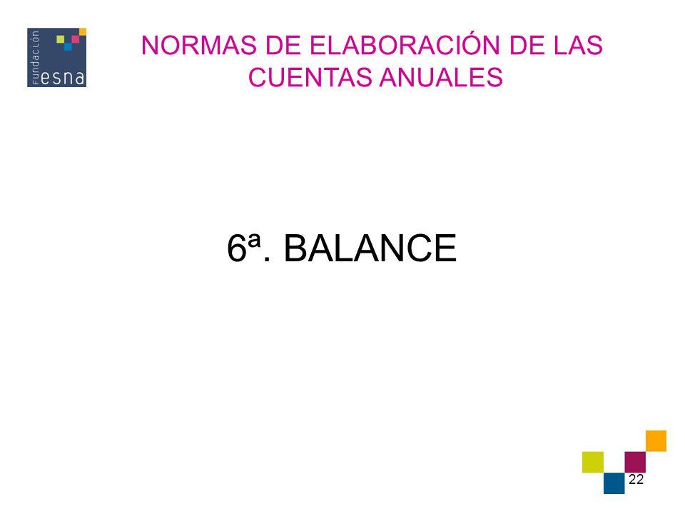 22 6ª. BALANCE NORMAS DE ELABORACIÓN DE LAS CUENTAS ANUALES