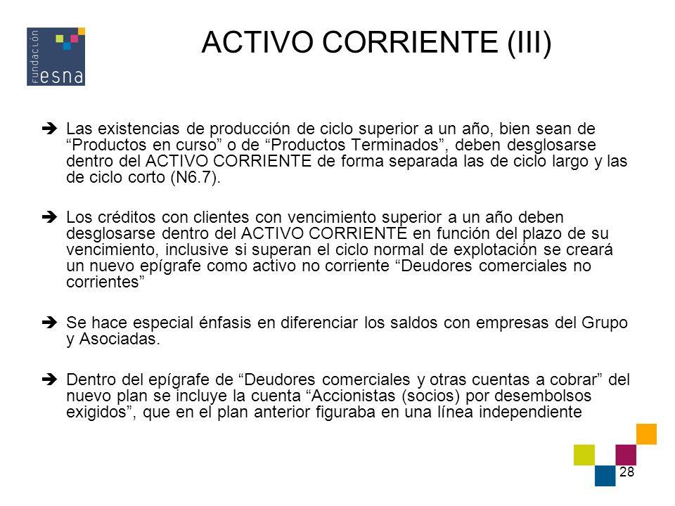 28 ACTIVO CORRIENTE (III) Las existencias de producción de ciclo superior a un año, bien sean de Productos en curso o de Productos Terminados, deben d