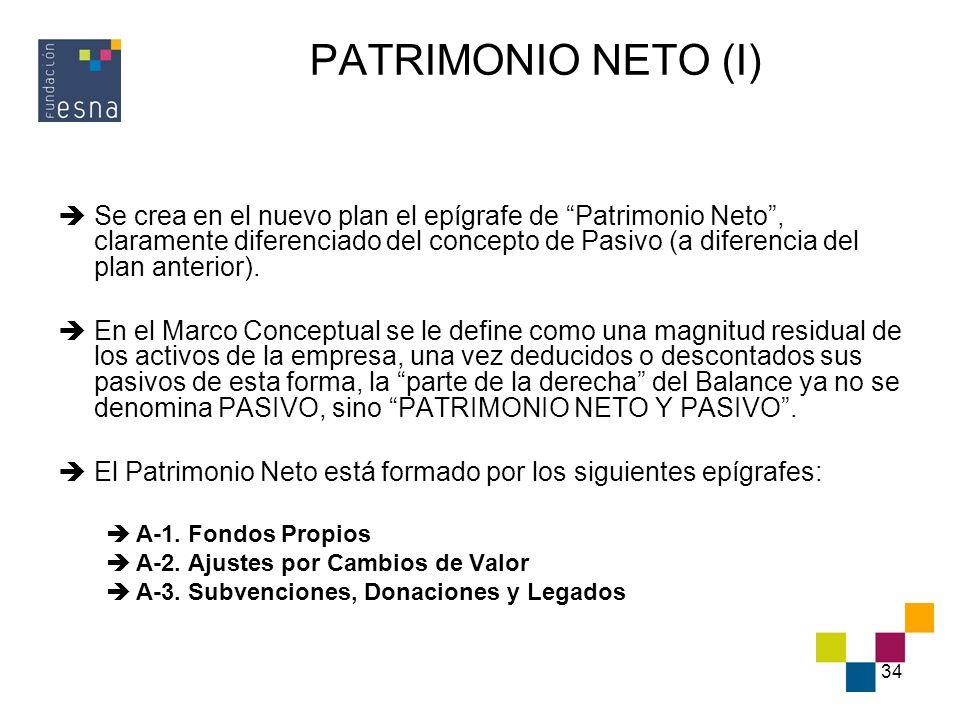 34 PATRIMONIO NETO (I) Se crea en el nuevo plan el epígrafe de Patrimonio Neto, claramente diferenciado del concepto de Pasivo (a diferencia del plan
