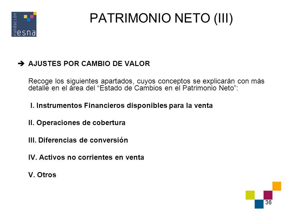 36 PATRIMONIO NETO (III) AJUSTES POR CAMBIO DE VALOR Recoge los siguientes apartados, cuyos conceptos se explicarán con más detalle en el área del Est