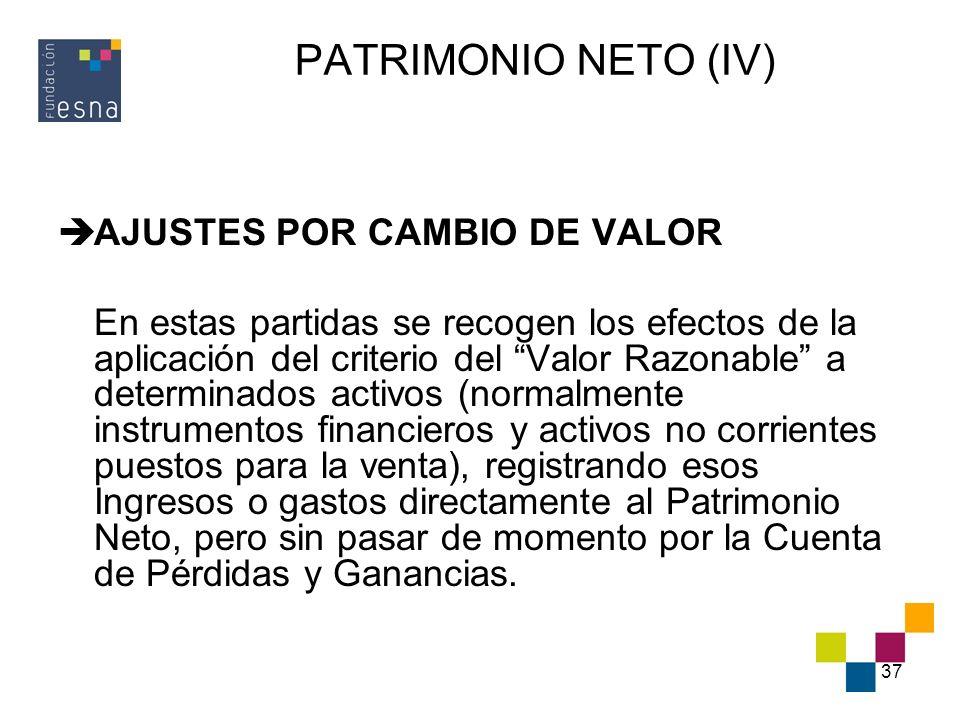 37 PATRIMONIO NETO (IV) AJUSTES POR CAMBIO DE VALOR En estas partidas se recogen los efectos de la aplicación del criterio del Valor Razonable a deter