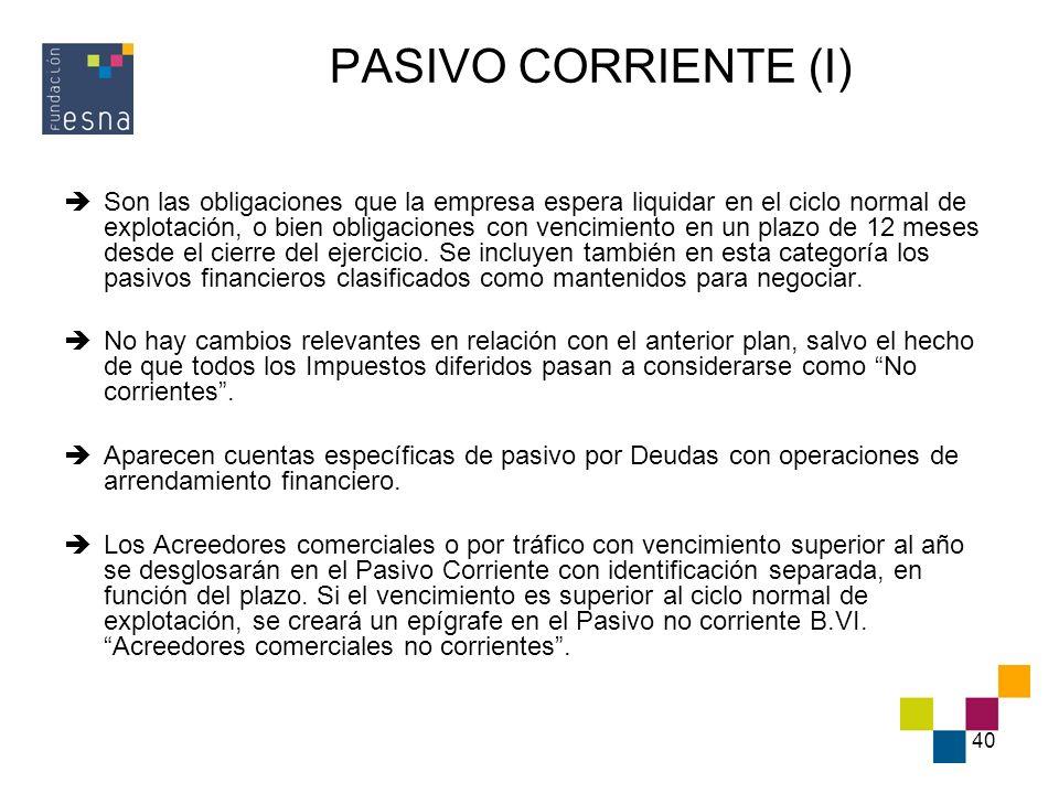 40 PASIVO CORRIENTE (I) Son las obligaciones que la empresa espera liquidar en el ciclo normal de explotación, o bien obligaciones con vencimiento en