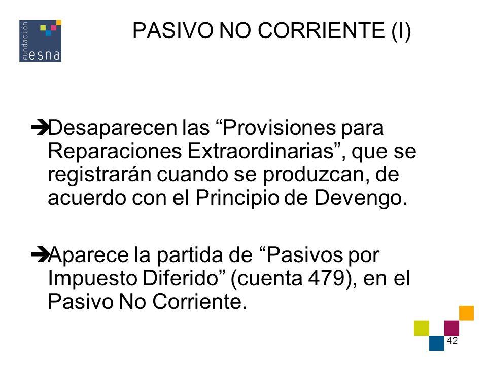 42 PASIVO NO CORRIENTE (I) Desaparecen las Provisiones para Reparaciones Extraordinarias, que se registrarán cuando se produzcan, de acuerdo con el Pr
