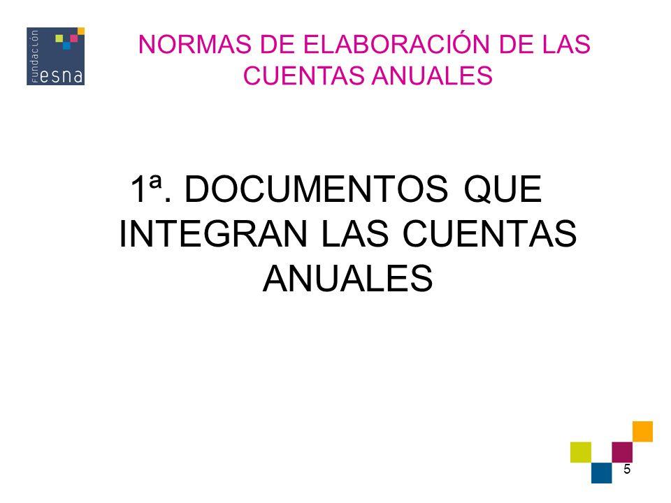6 DOCUMENTOS QUE INTEGRAN LAS CUENTAS ANUALES (I) Las cuentas anuales están compuestas por: EL BALANCE LA CUENTA DE PÉRDIDAS Y GANANCIAS EL ESTADO DE CAMBIOS EN EL PATRIMONIO NETO (NUEVO) EL ESTADO DE FUJOS DE EFECTIVO (NUEVO).
