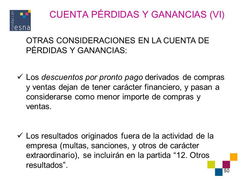 50 CUENTA PÉRDIDAS Y GANANCIAS (VI) OTRAS CONSIDERACIONES EN LA CUENTA DE PÉRDIDAS Y GANANCIAS: Los descuentos por pronto pago derivados de compras y