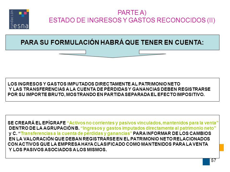 57 PARTE A) ESTADO DE INGRESOS Y GASTOS RECONOCIDOS (II) PARA SU FORMULACIÓN HABRÁ QUE TENER EN CUENTA: LOS INGRESOS Y GASTOS IMPUTADOS DIRECTAMENTE A