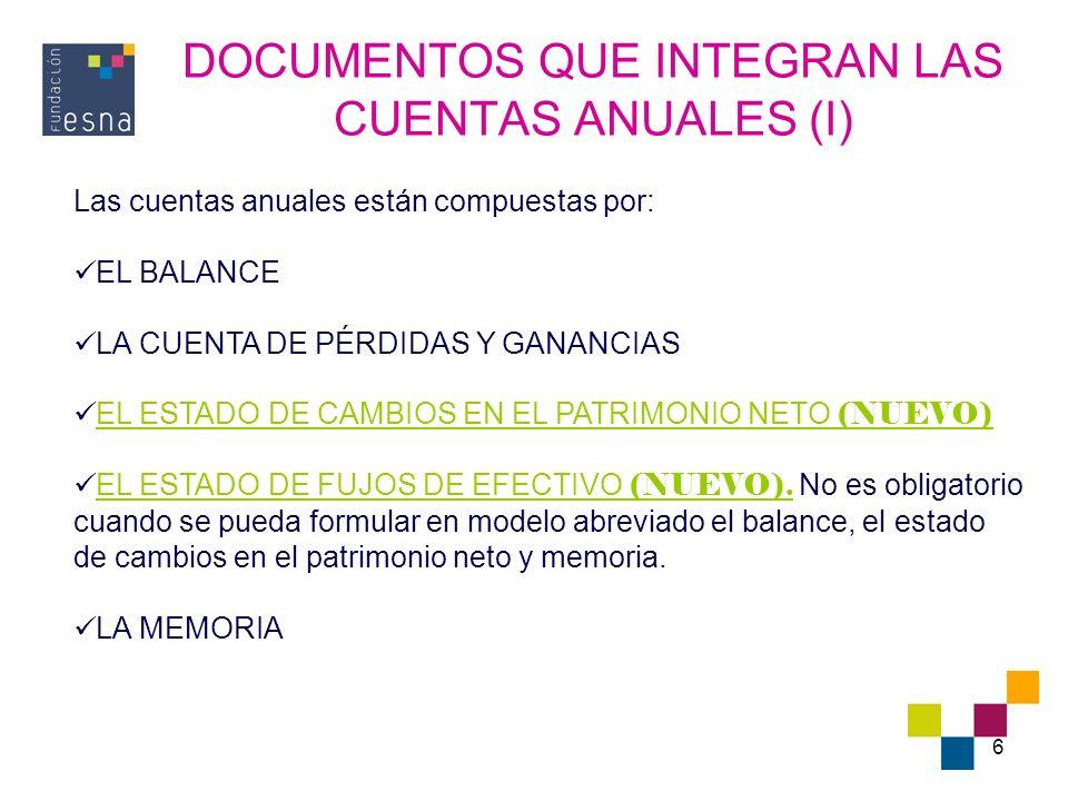 6 DOCUMENTOS QUE INTEGRAN LAS CUENTAS ANUALES (I) Las cuentas anuales están compuestas por: EL BALANCE LA CUENTA DE PÉRDIDAS Y GANANCIAS EL ESTADO DE