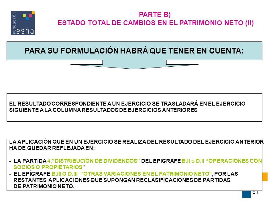 61 PARTE B) ESTADO TOTAL DE CAMBIOS EN EL PATRIMONIO NETO (II) PARA SU FORMULACIÓN HABRÁ QUE TENER EN CUENTA: EL RESULTADO CORRESPONDIENTE A UN EJERCI