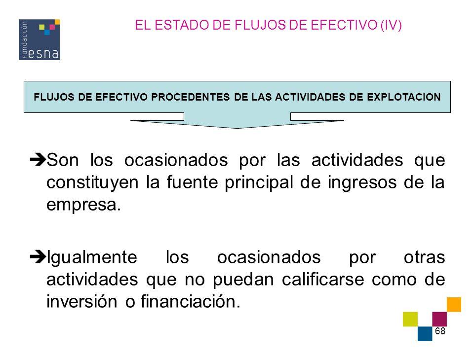 68 EL ESTADO DE FLUJOS DE EFECTIVO (IV) Son los ocasionados por las actividades que constituyen la fuente principal de ingresos de la empresa. Igualme