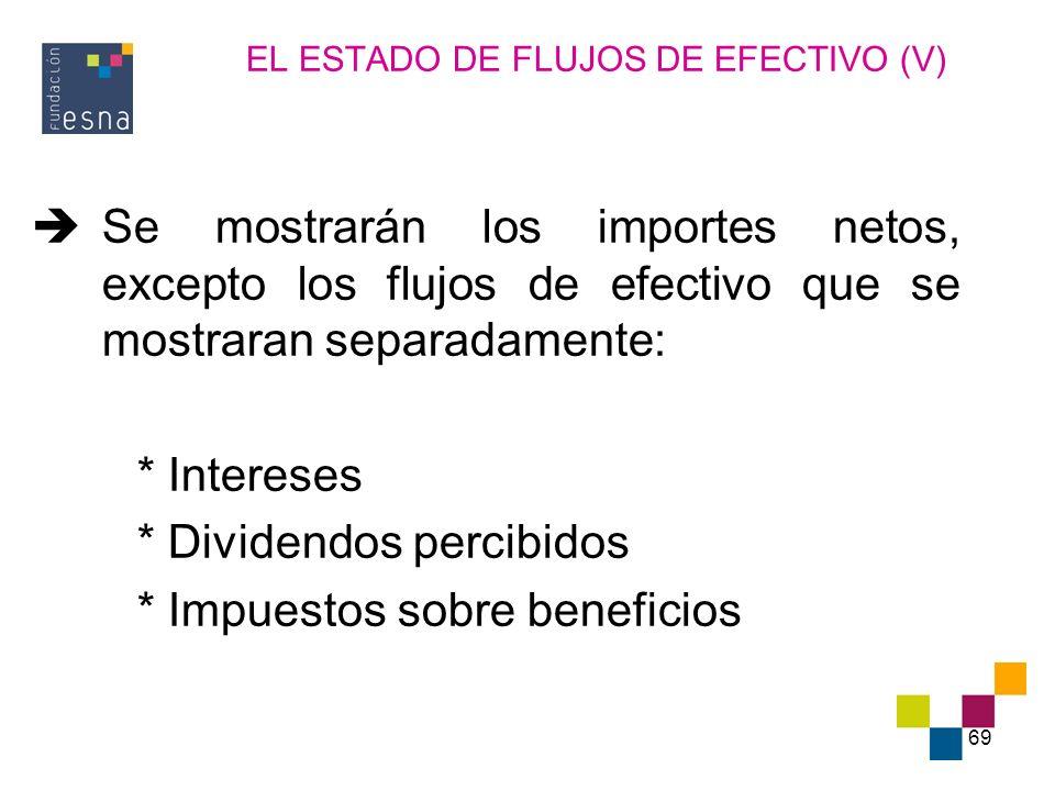 69 EL ESTADO DE FLUJOS DE EFECTIVO (V) Se mostrarán los importes netos, excepto los flujos de efectivo que se mostraran separadamente: * Intereses * D