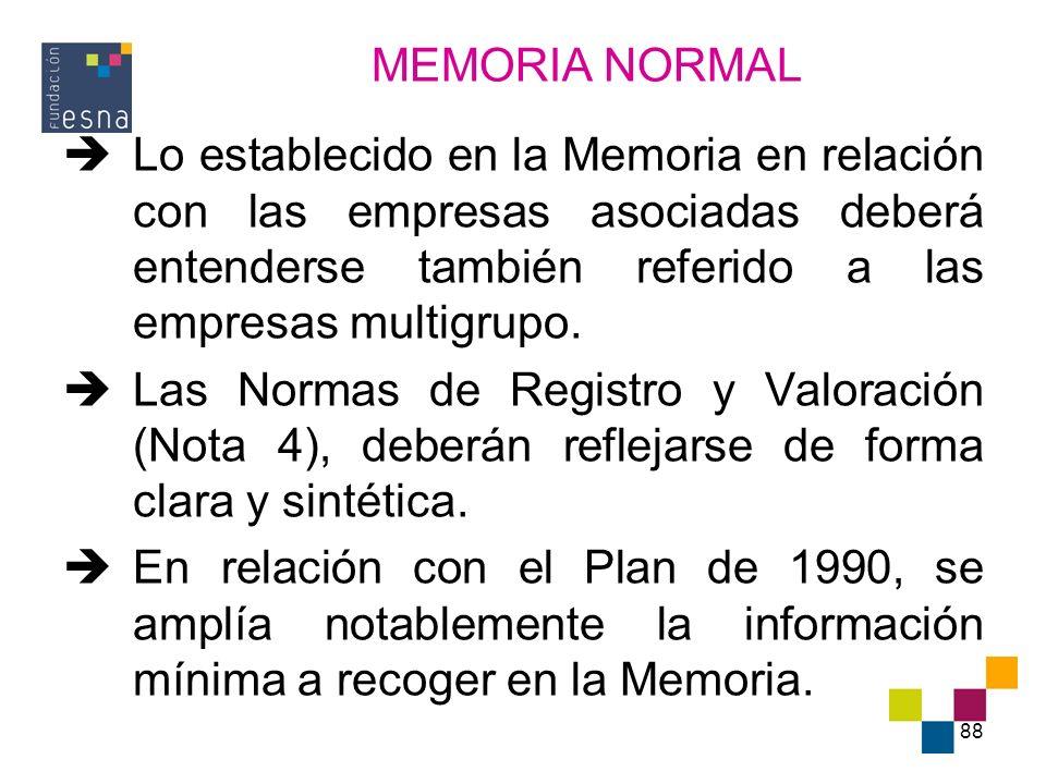 88 Lo establecido en la Memoria en relación con las empresas asociadas deberá entenderse también referido a las empresas multigrupo. Las Normas de Reg