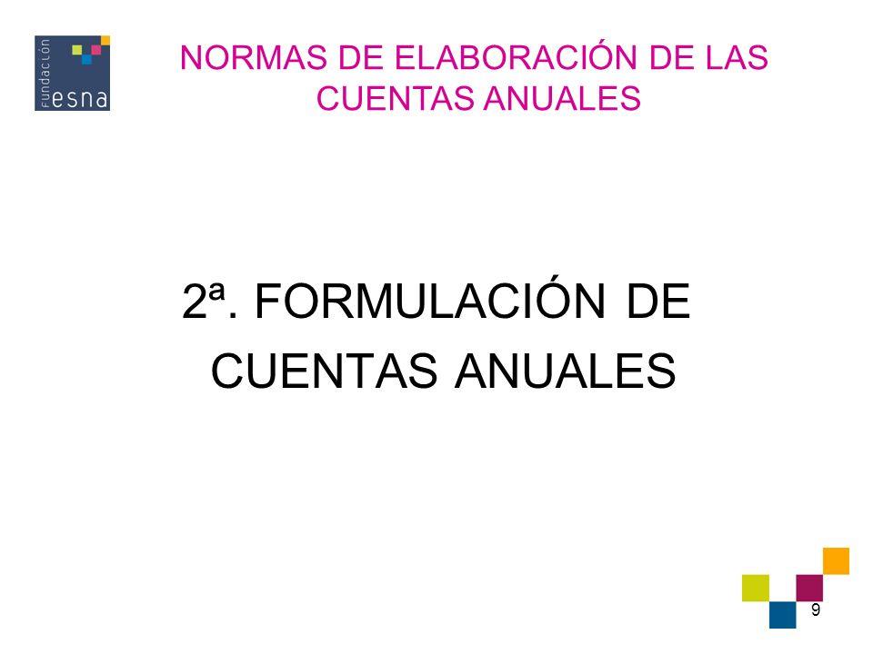 10 FORMULACIÓN DE LAS CUENTAS ANUALES (I) PERIODICIDAD: 12 MESES, EXCEPTO CONSTITUCIÓN, FUSIÓN O ESCISIÓN.