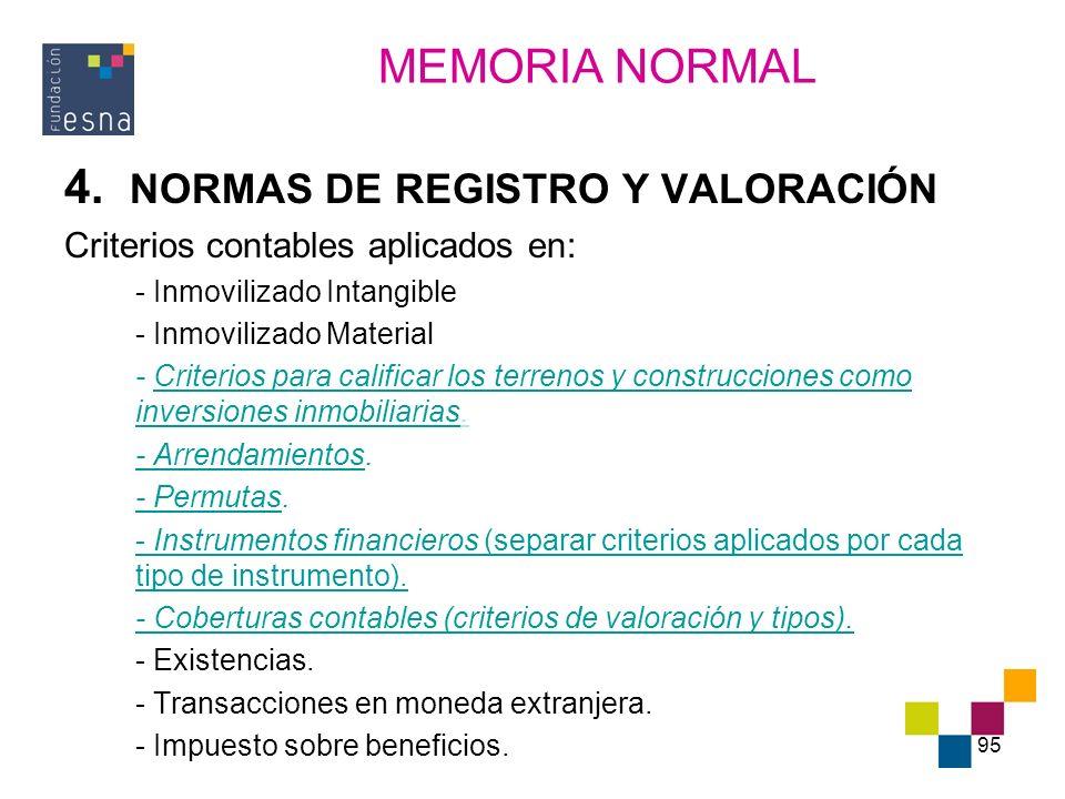 95 4. NORMAS DE REGISTRO Y VALORACIÓN Criterios contables aplicados en: - Inmovilizado Intangible - Inmovilizado Material - Criterios para calificar l