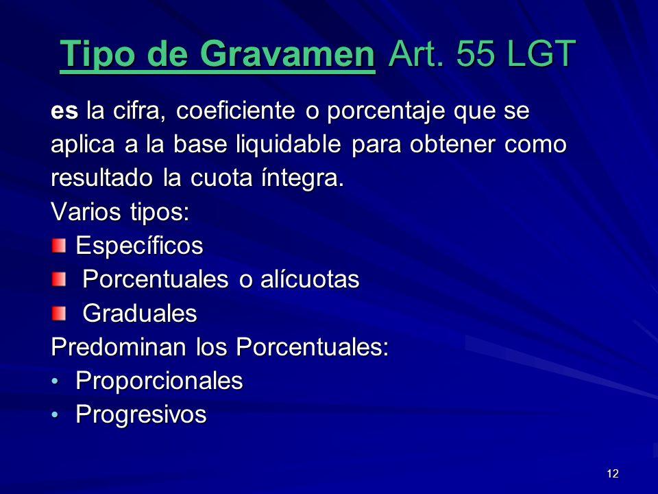 12 Tipo de Gravamen Art. 55 LGT es la cifra, coeficiente o porcentaje que se aplica a la base liquidable para obtener como resultado la cuota íntegra.