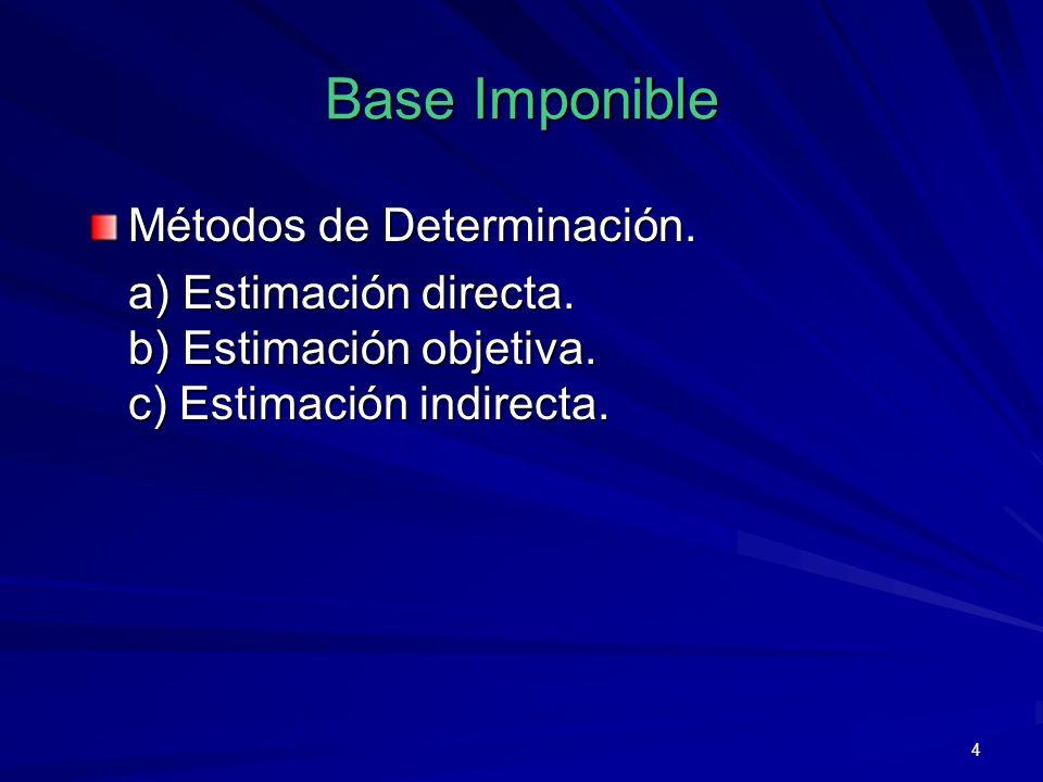 4 Base Imponible Métodos de Determinación. a) Estimación directa. b) Estimación objetiva. c) Estimación indirecta.