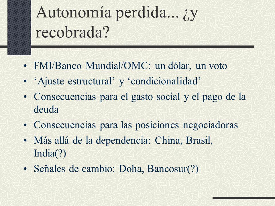 Autonomía perdida... ¿y recobrada? FMI/Banco Mundial/OMC: un dólar, un voto Ajuste estructural y condicionalidad Consecuencias para el gasto social y
